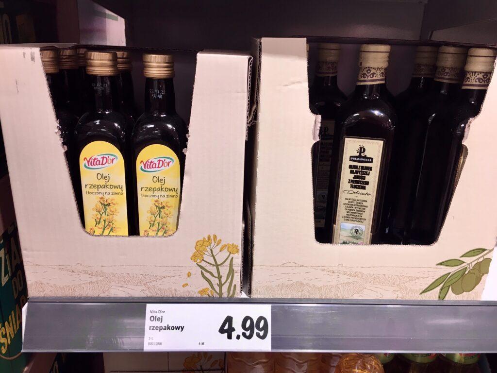 Zakupy bez plastiku - olej w szkle w Lidlu
